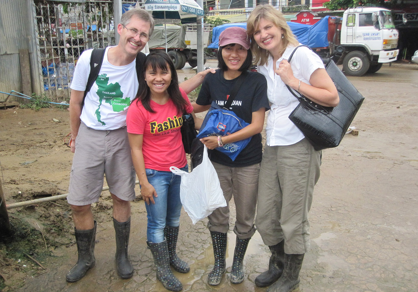 Karen, Mike, Sadudee and Jantanee 1st trip to MMF primary school Poipet Cambodia
